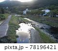 日本の川景色:日の出を迎えた津和野の街と津和野川 78196421