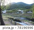 日本の川景色:津和野を流れる早朝の津和野川と歴史を感じさせる津和野の家並み 78196996