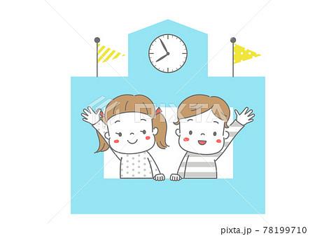 校舎の窓から手をふる男の子と女の子 カラー 78199710
