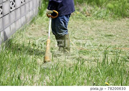 庭の草刈りをする女性 家庭用電動草刈り機  78200630