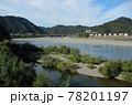 日本の川景色:山口県岩国市を流れる錦川と鵜飼の漁師と錦帯橋の遠景 78201197