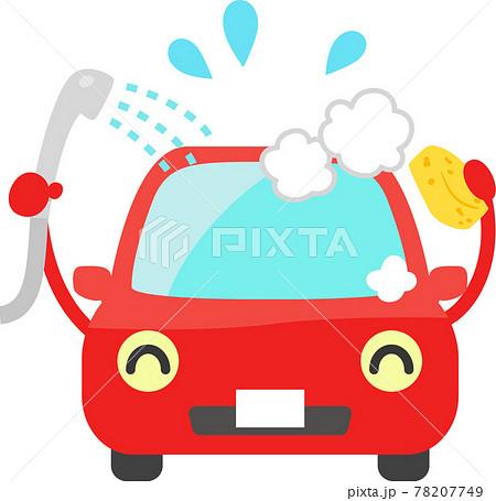 シャワーを浴びる車のキャラクター、洗車 78207749