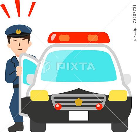 パトカーを降りてくる警察官 78207751