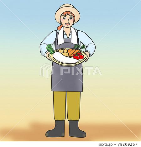 野菜を籠にいれて持つ農家の女性 78209267