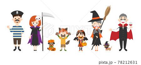 おもしろマスクをしてハロウィンの仮装をした家族のイラスト 78212631