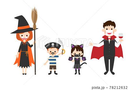 おもしろマスクをしてハロウィンの仮装をした家族のイラスト 78212632