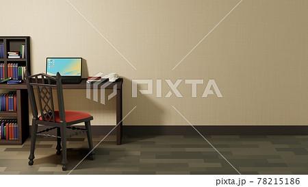 本とノートパソコンと椅子のある部屋 3Dレンダリング インテリア 78215186