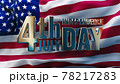 Golden 4th July Independence Day inscription against USA flag 78217283