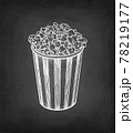 Chalk sketch of popcorn. 78219177