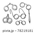 Ink sketch set of ancient spectacles. 78219181