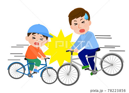自転車同士で正面衝突 交通事故 イラスト 78223856
