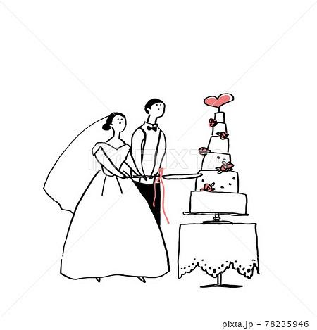 ケーキカットをする新郎新婦、カップル、結婚式、ウエディング  78235946