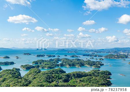 長崎県佐世保市 晴天の展海峰展望台から見る九十九島 78237958