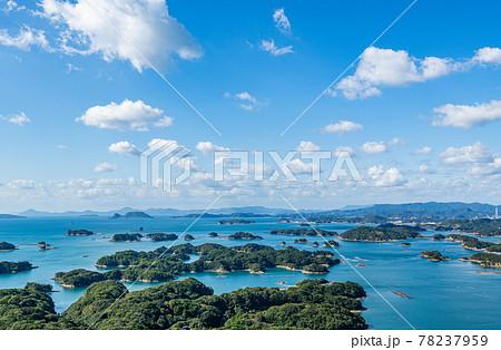 長崎県佐世保市 晴天の展海峰展望台から見る九十九島 78237959