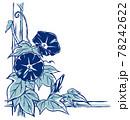 竹垣に伝う二輪の朝顔の花と蕾 手描き・2色塗り濃色 78242622