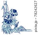 竹垣に伝う二輪の斑入り朝顔の花と蕾 手描き・2色塗り 78242627