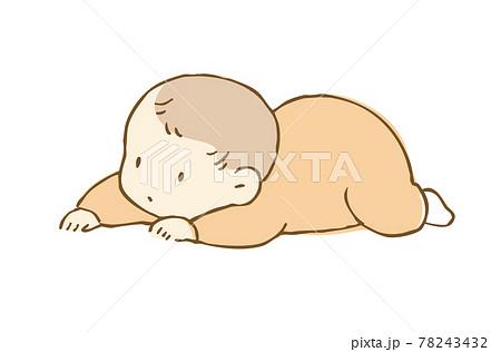 ずりばいする赤ちゃんのイラスト 78243432