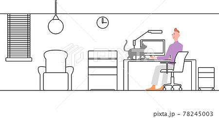 書斎線画+男性の仕事の邪魔をする猫 78245003