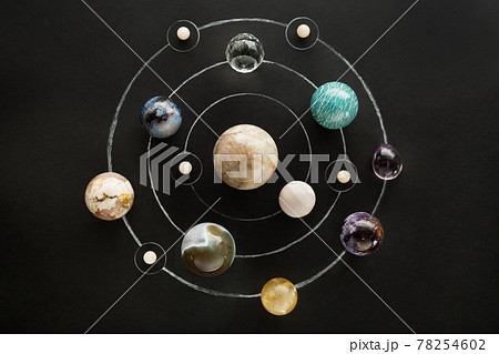 Crystal stones set in the form of a planetary system on black background. Round gemstones as planets on dark background 78254602
