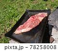 ステーキ キャンプ 鉄板 焚火料理 78258008
