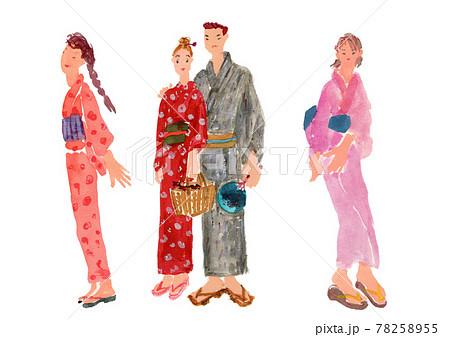 女の子たちの水彩イラスト 78258955