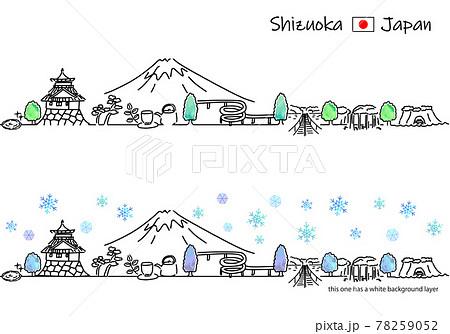 冬の静岡県の街並みのシンプル線画セット 78259052