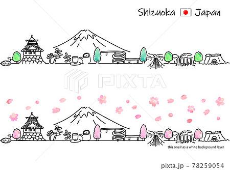 春の静岡県の街並みのシンプル線画セット 78259054