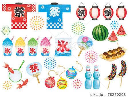 夏祭り 水彩風素材 78270208