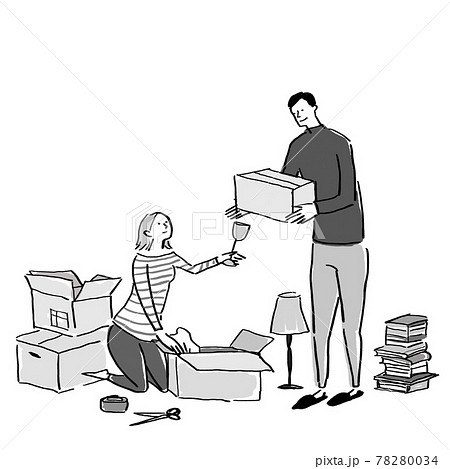 荷物をダンボールに入れる、荷ほどき、する男性と女性、夫婦、カップル、 78280034