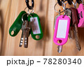 Pink keychain with copy space. Close up.  78280340