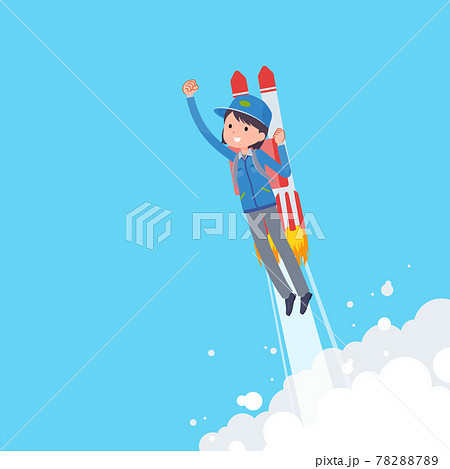 ロケットジェットで飛び立つ配送員女性のセット 78288789