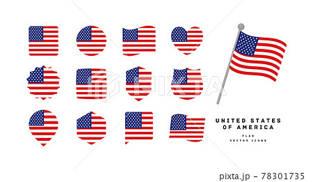 アメリカ 国旗のアイコンセット ベクターイラスト 78301735