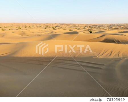 人や動物が写っていない、ドバイのどこまでも続く砂漠 78305949