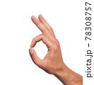 Hand OK sign isolated on white background 78308757