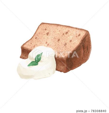 リアルタッチのシフォンケーキと生クリームとミントのイラスト 78308840
