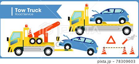 レッカー車に運ばれる事故車のイラストアイコン 78309603