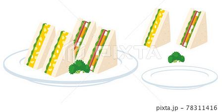 皿にのった卵サラダ&卵ハムのサンドイッチのイラスト素材 78311416