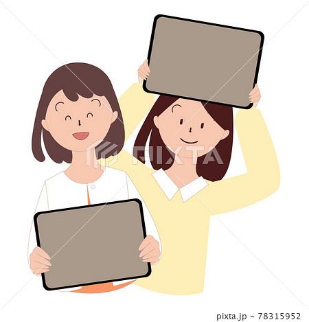 タブレットを持つ女の子たち 日本人 78315952