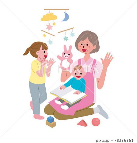 保育所で働くシニア女性のイラスト 78336361