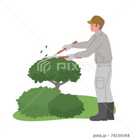 庭仕事をする男性のイラスト 78336368