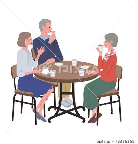 カフェでお茶を飲むシニアの男女のイラスト 78336369