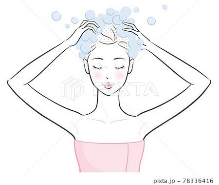 シャンプーする女性、ベクターイラスト 78336416