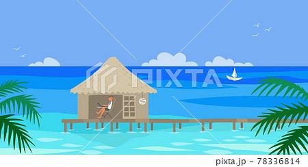 南国の水上コテージでワーケーション中のイラスト 78336814