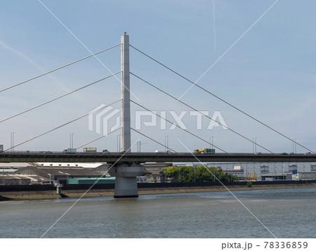 大和川下流に架かる阪神高速湾岸線の大和川橋梁 78336859