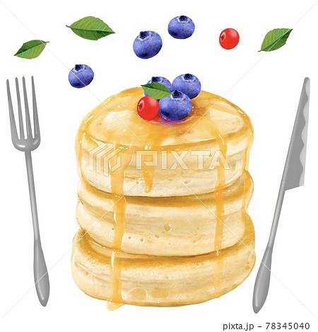 ブルーベリーとクランベリーののったメープルをかけた三段重ねのパンケーキイラスト 78345040