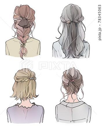 おしゃれなヘアスタイルの女性の後ろ姿 78345063