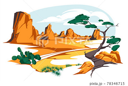 Desert landscape with rocks and cactuses. Vector flat illustration of highway turn in Arizona or Mexico hot sand desert with orange mountains. Summer western american landscape 78346715
