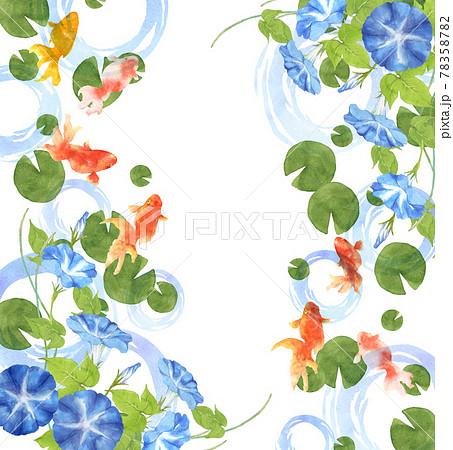 金魚と朝顔の手描き水彩画 78358782