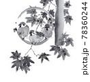 丸いオブジェにとまる雀と楓の葉 墨絵イラスト 78360244