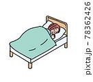 ベッドで眠る女性のイラスト 78362426